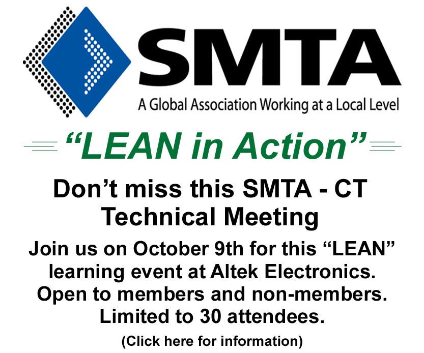 SMTA-CT Tech Session: Tour of Altek Electronics Inc. & presentation of LEAN initiatives